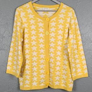 CHRISTOPHER & BANKS  Yellow White Star Knit Cardi